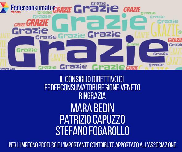 Il Direttivo di Federconsumatori Veneto ringrazia Bedin, Capuzzo e Fogarollo