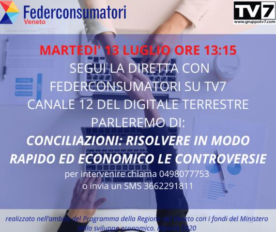 13 luglio: diretta tv per parlare di conciliazioni