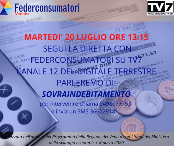 20 luglio: diretta TV per parlare di soluzioni al SOVRAINDEBITAMENTO