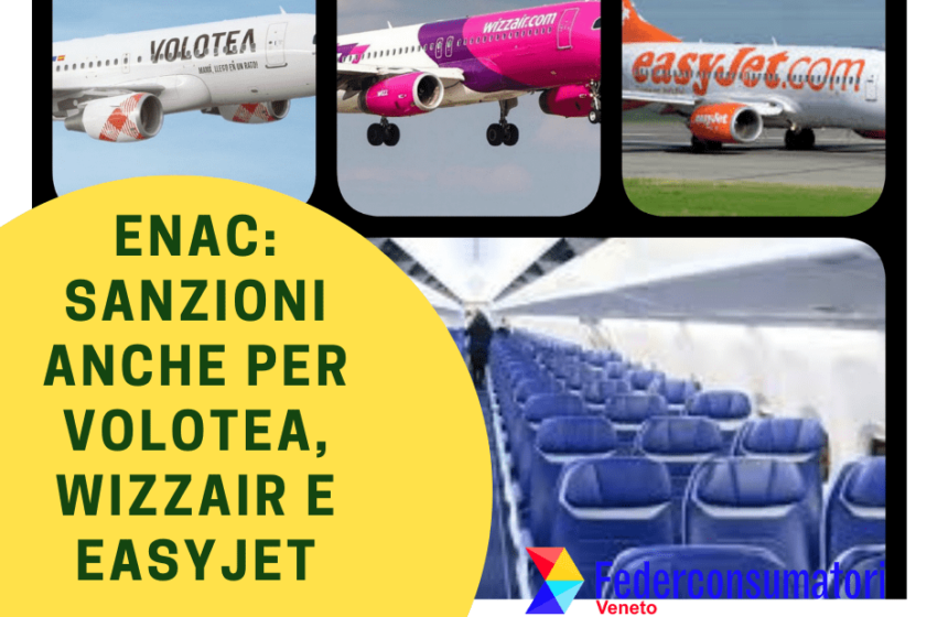 ENAC, sanzioni anche per Volotea, Wizzair e Easyjet