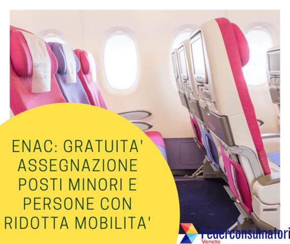 ENAC: gratuità assegnazione posti a minori e a persone con ridotta mobilità